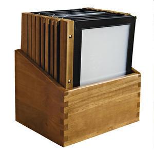Box s jídelními lístky Wood černý