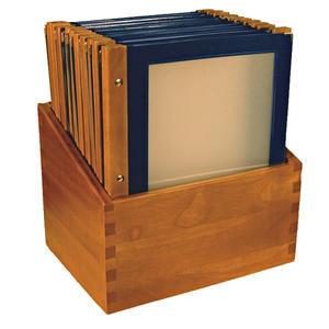 Box s jídelními lístky Wood modrý