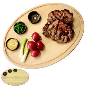 Prkénko na steak oválné vč. 3 misek