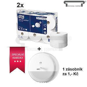 Toaletní papír 2 balení a zásobník za korunu