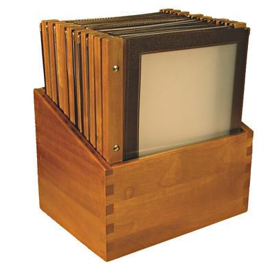 Box s jídelními lístky Wood hnědý, hnědá - 20 JL + box - A4