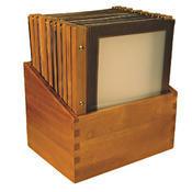 Box s jídelními lístky Wood hnědý, hnědá - 20 JL + box - A4 - 1/3