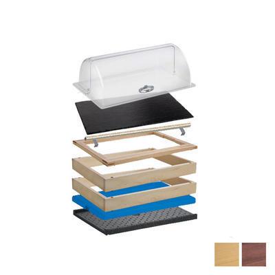 Bufetový modul 1/1 chlazený s břidlicí s rolltopem, tmavý buk - 13 cm - 1