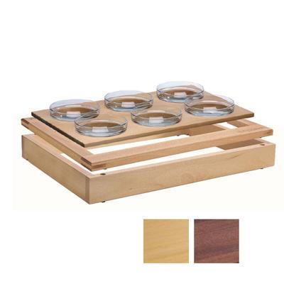 Bufetový modul 1/1 se 6 miskami, tmavý buk - 6,5 cm - 1