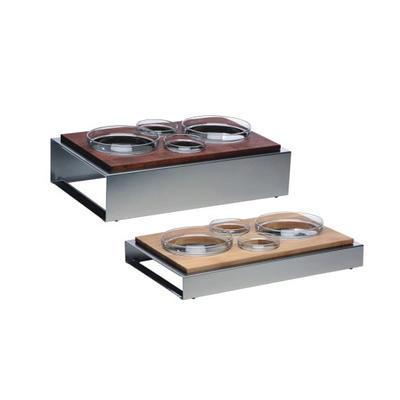 Bufetový modul 4 nerez - 4 misky, tmavý buk - 13 cm - 57 x 36 cm - 1