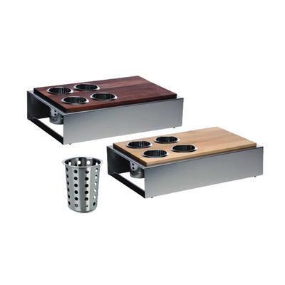 Bufetový modul 5 nerez - 4 košíky na příbory, světlý buk - 13 cm - 57 x 36 cm - 1