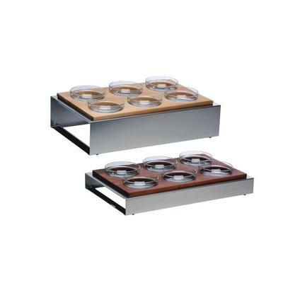 Bufetový modul 6 nerez - 6 misek, světlý buk - 13 cm - 57 x 36 cm - 1