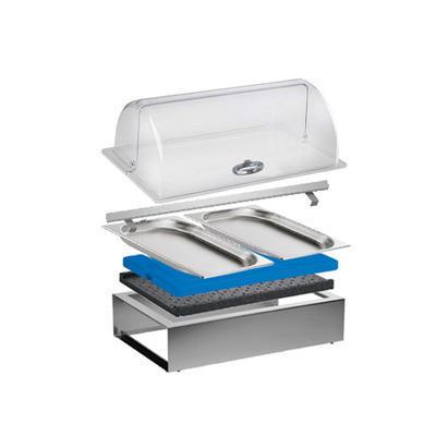 Bufetový modul ICE nerez s 2x GN1/2-40 a rolltop akryl, nerez ICE - 2GN/poklop - 13 cm - 1