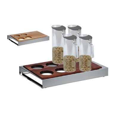 Bufetový modul nerez - 4 karafy, nerez - tmavý/4karafy - 6,5 cm - 1
