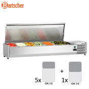 Chladicí nástavba nerez GN 5x1/3 a 1x1/2 GN Bartscher, 1500 x 400 x 275 mm - 0,174 kW / 230 V - 27,8 kg - 1/2