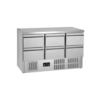 Chladicí stůl GN 1/1 6 zásuvek, 1365 x 700 x 877 mm - 235 W / 230 V
