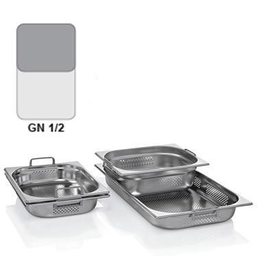 Gastronádoba GN 1/2 nerezová děrovaná s uchy, 200 mm - 32,5 x 26,5 cm - 12,5 l