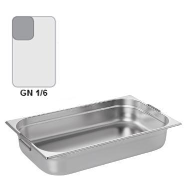 Gastronádoba GN 1/6 nerezová s uchy, 100 mm - 17,6 x 16,2 cm - 1,6 l - 1
