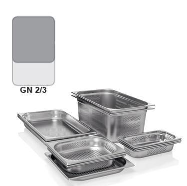 Gastronádoba GN 2/3 nerezová děrovaná, GN 2/3-100 - děrované dno i strany - 9,0 l