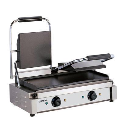 Gril kontaktní dvojitý hladké desky Bartscher, 570 x 395 x 210 mm - 3,6 kW / 230 V - 23,5 kg