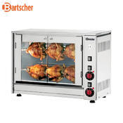 Gril na kuřata, 880 x 430 x 530 mm - 8 kuřat / 2 špízy - 3,5 kW / 230 V - 1/3