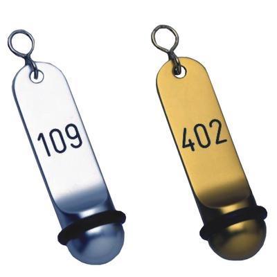 Hotelové klíčenky Klassik dlouhé, zlatá - 2 místné číslo