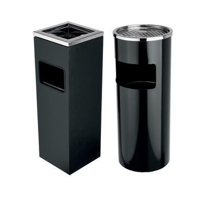 Koš odpadkový s popelníkem černý, hranatý - 60 cm - 20 x 20 cm