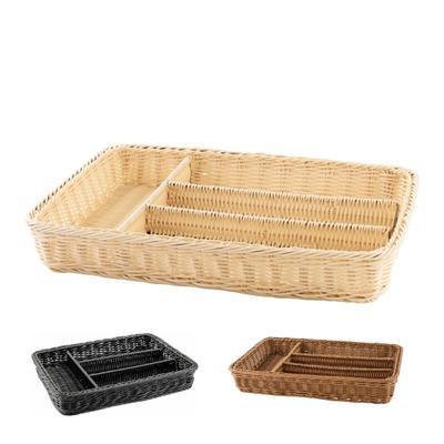 Košík na příbory 4 přihrádky, hnědý - 40 x 30 x 6,5 cm - 1