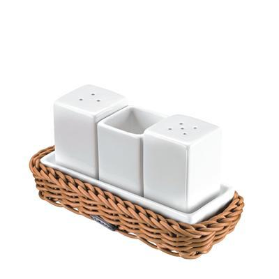 Menážky v košíku sůl a pepř s párátky, 15,5 x 7,5 x 2,5 cm - 7,5 cm