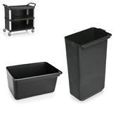 Nádoby pro vozík hliník plast s opláštěním, nádoba nízká - 33 x 23 x 18 cm - 1/3