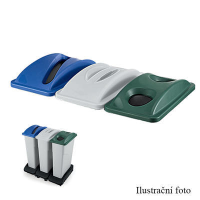 Odpadkový koš 75 l - víko, se zářezem - modrá