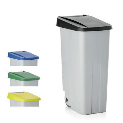 Odpadkový koš 85 a 110 l s víkem, 85 l - 40 x 57 x 76 cm - zelené víko - 1