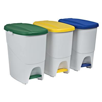 Odpadkový koš nášlapný System, 40 l - 35 x 38,5 x 45,5 cm - bílé