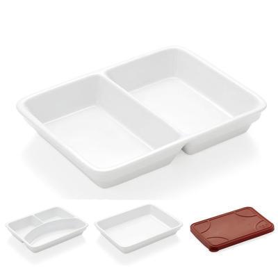 Podnos jídelní porcelánový, silikonové víko - 24 x 18 x 1 cm - 1
