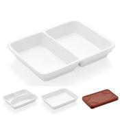 Podnos jídelní porcelánový, silikonové víko - 24 x 18 x 1 cm - 1/5