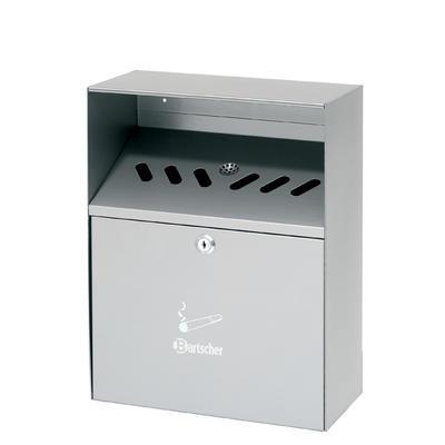 Popelník nástěnný stříbrný Bartscher, 280 x 140 x 373 mm - 6,5 l - 2,8 kg - 1