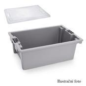 Přepravní a skladovací box šedý, 55 x 40 x 22 cm - 66 x 45 x 23 cm - box bez víka - 1/3