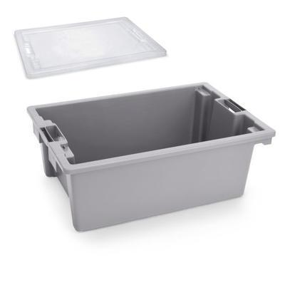 Přepravní a skladovací box šedý, 64,6 x 42 x 2 cm - víko - 1