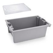 Přepravní a skladovací box šedý, 64,6 x 42 x 2 cm - víko - 1/3