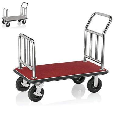 Recepční vozík plošinový, barva ocelová / bordó - 113 x 61,5 x 98 cm - 1