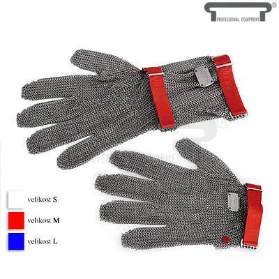 Řeznická rukavice se zapínáním na pásku, bez manžety - modrá - L