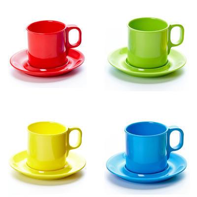 Šálek a podšálek melamin barevný, podšálek - zelená - 14,5 cm - 1