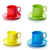 Šálek a podšálek melamin barevný, podšálek - zelená - 14,5 cm - 1/6