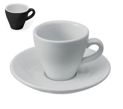 Šálek a podšálek na espresso Italia, podšálek bílo/černý - 12,5 cm - 1