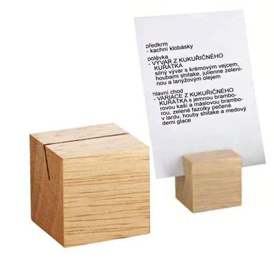 Stojánek na karty dřevěný, tmavá - 3 x 3 x 3 cm - 1