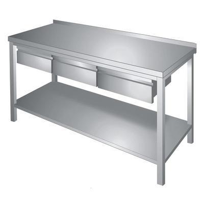 Stůl pracovní s policí a zásuvkami nerez, Š 1400 x H 700 x V 850 mm