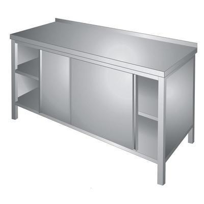 Stůl pracovní s posuvnými dvířky nerez, Š 1600 x H 700 x V 850 mm