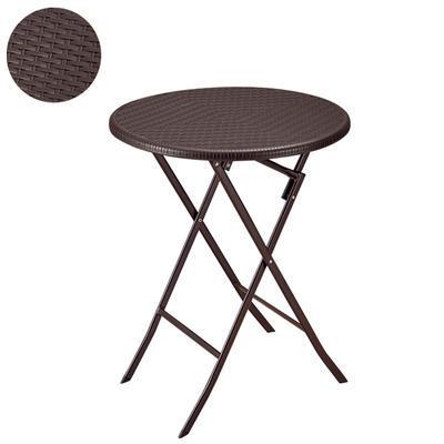 Stůl skládací kulatý nízký série Rattan, 80 cm - 74 cm