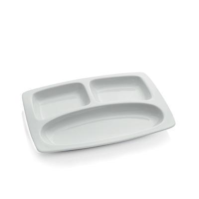 Talíř hranatý třídílný porcelánový, talíř hranatý dělený - 30,0 x 22,5 cm