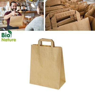 Taška papírová hnědá 50 ks, 32+16 x 39 cm - 50 ks/bal