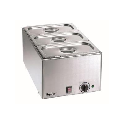 Vodní lázeň včetně 3 x GN 1/3-150 mm bez kohoutu Bartscher, 3x GN1/3-150 mm - 1,2 kW / 230 V - 10,6 kg