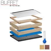 Bufetový modul 1/1 chlazený s GN světlý, studený modul - 6,5 cm - světlý buk - 2/2