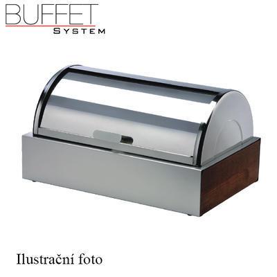 Bufetový modul ICE nerez s 2x GN1/2-40 a rolltop akryl, nerez ICE - 2GN/poklop - 13 cm - 2