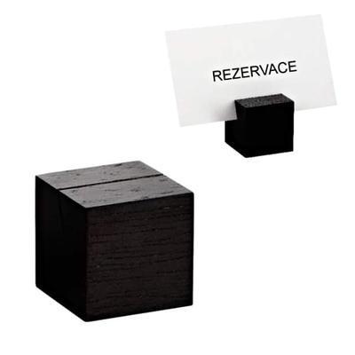 Stojánek na karty dřevěný, tmavá - 3 x 3 x 3 cm - 2