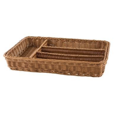 Košík na příbory 4 přihrádky, hnědý - 40 x 30 x 6,5 cm - 2